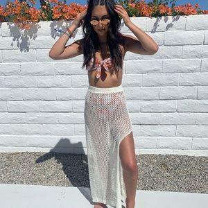 Cream crochet maxi skirt with slits S